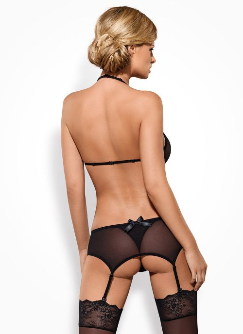 Obsessive komplet: biustonosz, pas do pończoch i stringi czarny (Merossa)