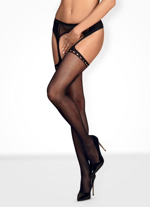 Obsessive garter stockings czarne (S314)