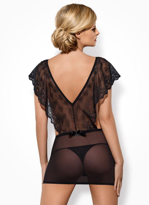 Obsessive koszulka i stringi czarna (Merossa)
