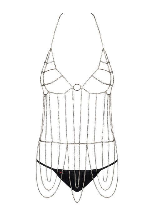 Obsessive komplet: top z łańcuszka i stringi srebrno-czarny (Punker)