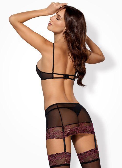 Obsessive komplet: biustonosz, pas do pończoch i stringi czarno-różowy (Sedusia)