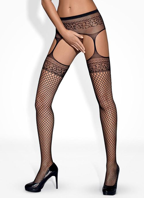 Obsessive garter stockings czarne (S502)