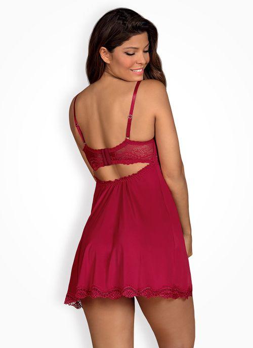 Obsessive koszulka babydoll i stringi czerwona (Rosalyne)