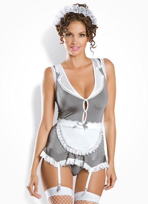 Obsessive kostium pokojówki biało-szary (Housekeeper)