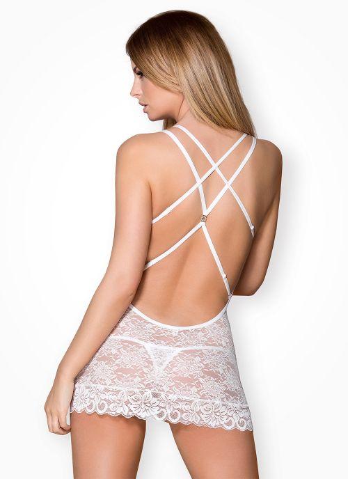 Obsessive koszulka i stringi biała (860-CHE-2)