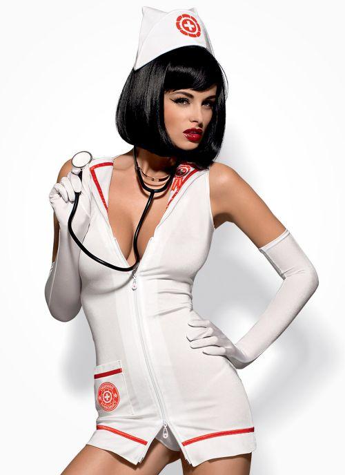 Obsessive kostium pielęgniarki biało-czerwony (Emergency)