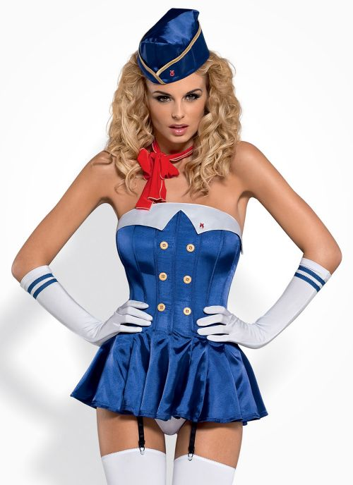Obsessive kostium stewardessy niebiesko-czerwony (Stewardess)