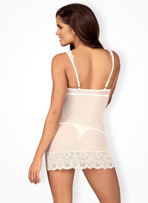 Obsessive koszulka i stringi biało-beżowa (853-CHE-2)