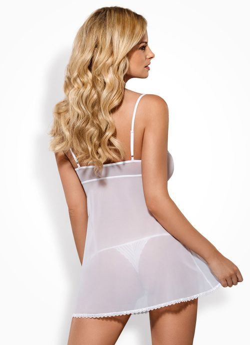 Obsessive koszulka babydoll i stringi biała (Sensita)