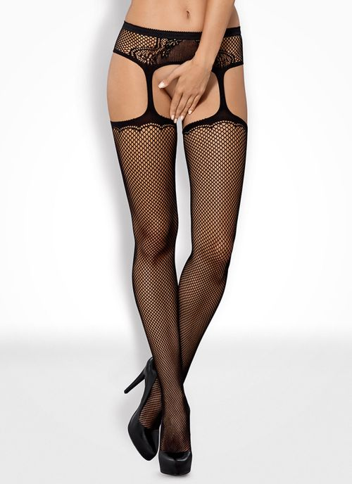 Obsessive garter stockings czarne (S232)