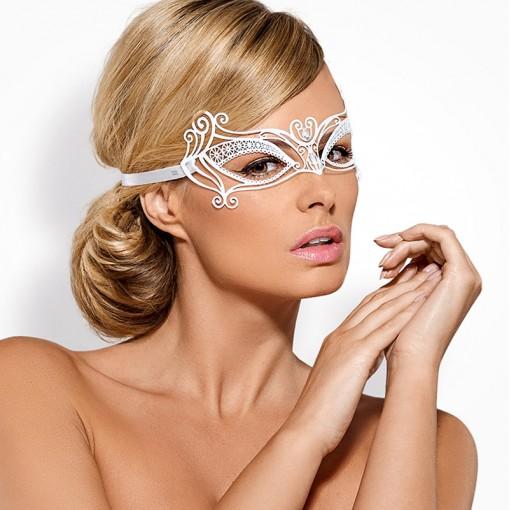 Obsessive metalowa maska na oczy biała