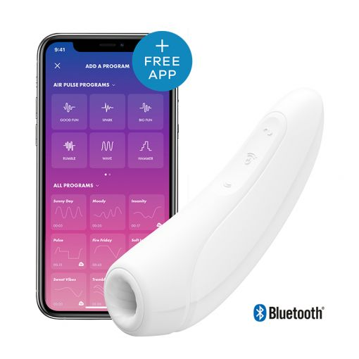 Satisfyer Curvy 1+ bezdotykowo-wibrujący masażer łechtaczki sterowany telefonem biały