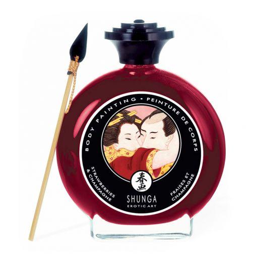 Shunga Body Painting jadalna farbka do ciała truskawkowa 100 ml