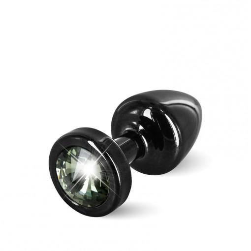 Diogol Anni korek analny z kryształkiem Swarovskiego czarno-czarny 25 mm