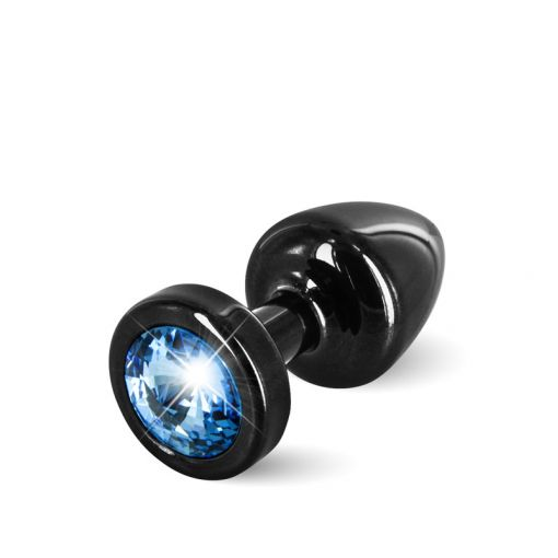 Diogol Anni korek analny z kryształkiem Swarovskiego czarno-niebieski 25 mm