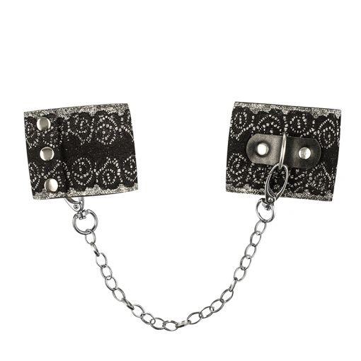 Obsessive A747 kajdanki zdobione koronką i brokatem czarno-srebrne