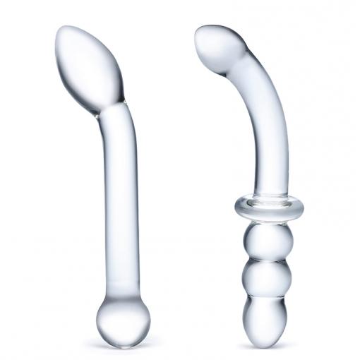 Gläs G-Spot Pleasure zestaw 2 szklanych dildo bezbarwny