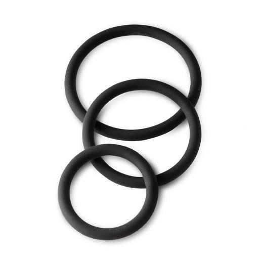 BOLD Round Set zestaw 3 pierścieni erekcyjnych czarny