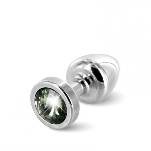 Diogol Anni korek analny z kryształkiem Swarovskiego srebrno-czarny 25 mm
