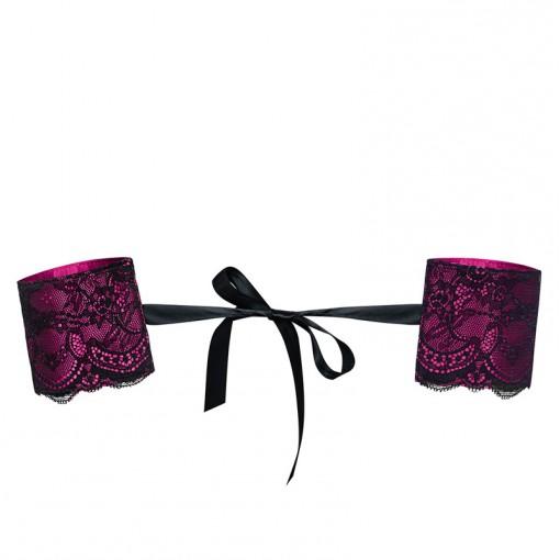 Obsessive kajdanki zdobione koronką różowo-czarne