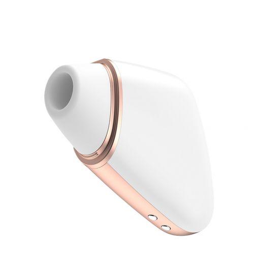 Satisfyer Love Triangle bezdotykowo-wibrujący masażer łechtaczki sterowany telefonem biały, różowe złoto