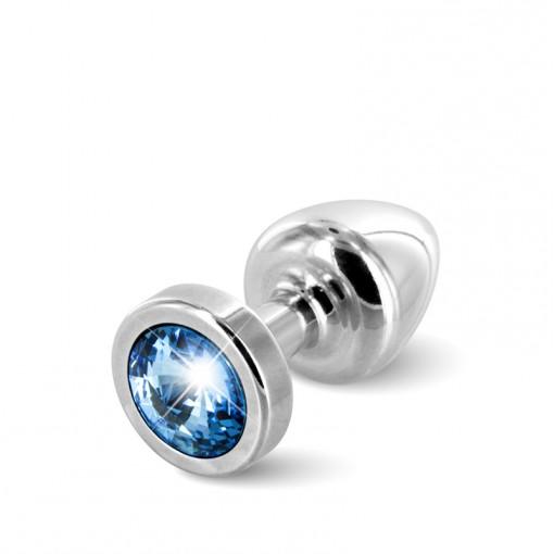 Diogol Anni korek analny z kryształkiem Swarovskiego srebrno-niebieski 25 mm