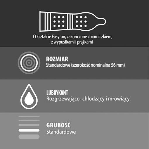 Durex Intense prezerwatywy z prążkami, wypustkami i żelem stymulującym 3 szt.