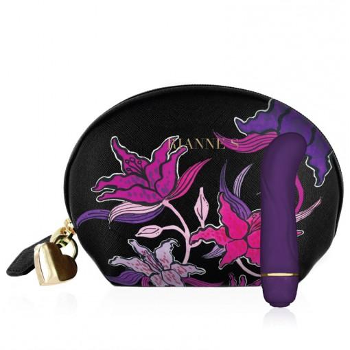 Rianne S miniwibrator punktu G fioletowy z kwiatową kosmetyczką