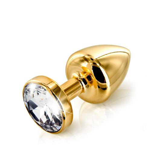 Diogol Anni korek analny z kryształkiem Swarovskiego złoty 35 mm