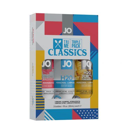 System JO Tri Me Classic prezentowy zestaw lubrykantów i żelu do masażu 3 x 30 ml