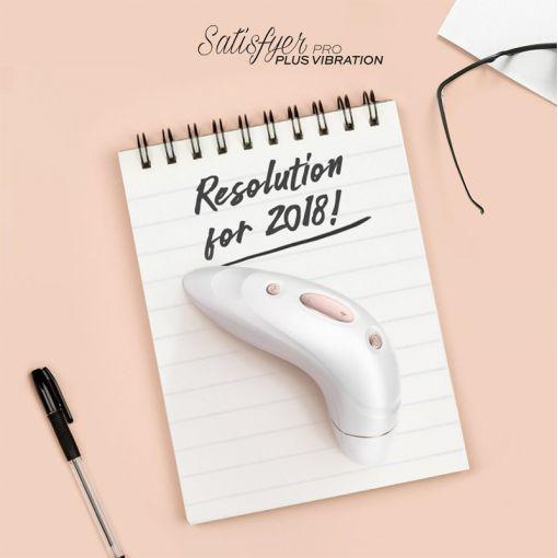 Satisfyer Pro Plus Vibration bezdotykowo-wibrujący masażer łechtaczki biały różowe złoto
