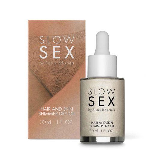 Bijoux Indiscrets Slow Sex suchy olejek z drobinkami rozświetlającymi strefy erogenne 30 ml