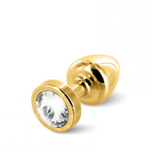 Diogol Anni korek analny z kryształkiem Swarovskiego złoty 25 mm