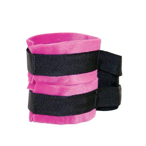 Sex&Mischief Kinky Pinky kajdanki z taśmami do krępowania różowo-czarne