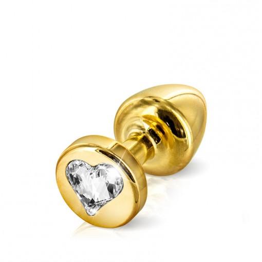 Diogol Anni korek analny z kryształkiem Swarovskiego serduszko złoty 25 mm