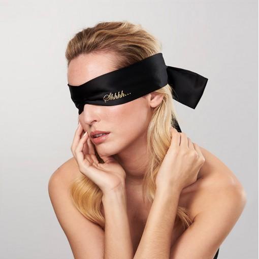 Bijoux Indiscrets Shhh satynowa szarfa na oczy czarna