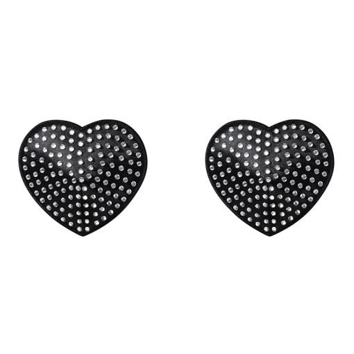 Obsessive A750 nasutniki serduszka z kryształkami czarno-srebrne