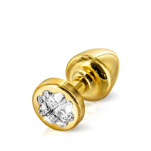 Diogol Anni korek analny z kryształkiem Swarovskiego koniczynka złoty 25 mm
