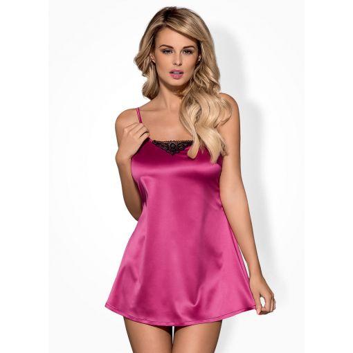 Obsessive koszulka babydoll i stringi różowa (Satinia)