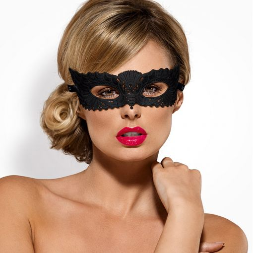 Obsessive koronkowa maska na oczy czarna A700