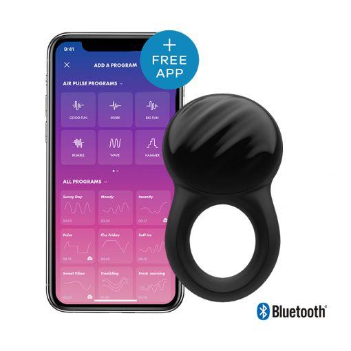 Satisfyer Signet Ring pierścień wibrujący dla par sterowany telefonem czarny