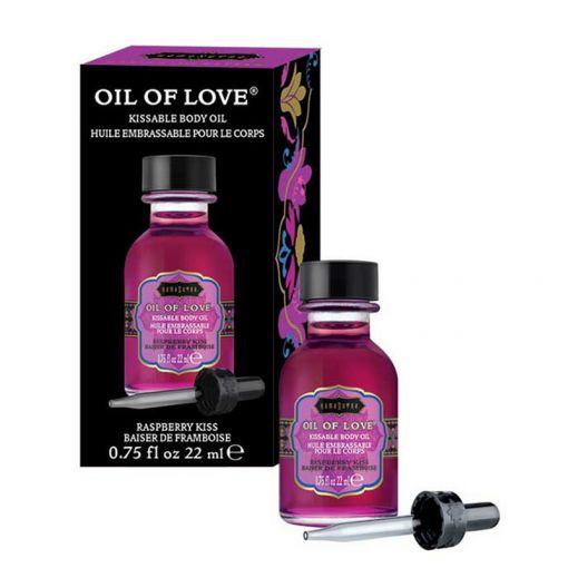 Kama Sutra Oil of Love rozgrzewający olejek do gry wstępnej malinowy 22 ml