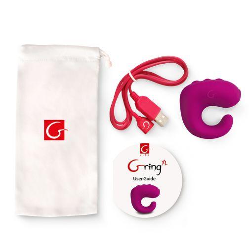 Gvibe Gring XL masażer łechtaczki zakładany na palec malinowy
