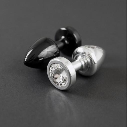 Diogol Anni korek analny z kryształkiem Swarovskiego czarny 25 mm
