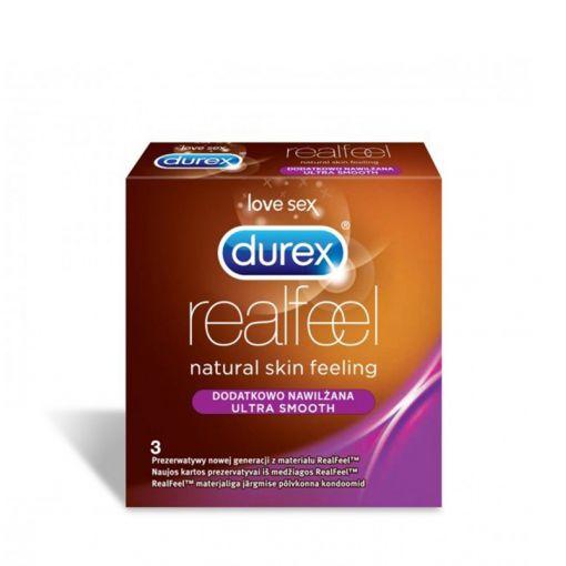 Durex RealFeel dodatkowo nawilżane prezerwatywy nielateksowe 3 szt.