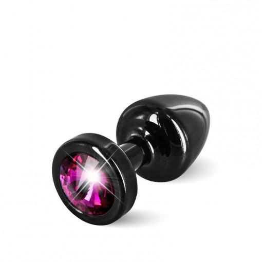 Diogol Anni korek analny z kryształkiem Swarovskiego czarno-różowy 25 mm