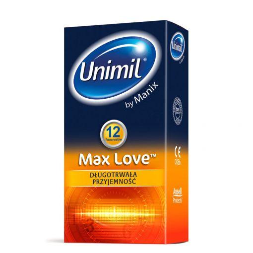 Unimil Max Love prezerwatywy wydłużające stosunek 12 szt.