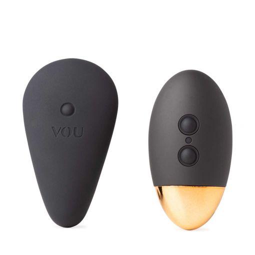 VOU Cappillo zdalnie sterowany masażer do noszenia w bieliźnie czarno-złoty