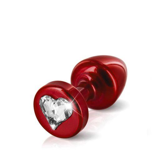 Diogol Anni korek analny z kryształkiem Swarovskiego serduszko czerwony 25 mm